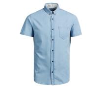 Markantes Jeans-Kurzarmhemd blau
