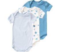 3er-Pack Bodys Sterne für Jungen blau / himmelblau / hellblau / naturweiß
