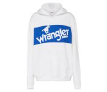 Kapuzensweater 'retro' blau / weiß