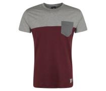 T-Shirt mit Brusttasche grau / weinrot
