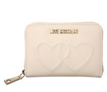 Portemonnaie mit Herz-Stickerei beige