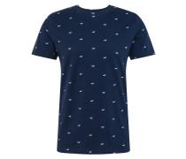 T-Shirt 'Geo' weiß / navy