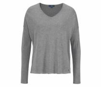 V-Ausschnitt-Pullover graumeliert