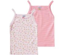 Doppelpack Unterhemden für Mädchen hellblau / grasgrün / rosa / rosé