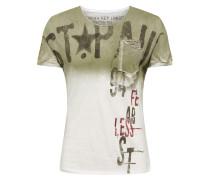 Shirt 'MT Achi round' creme / dunkelgrün