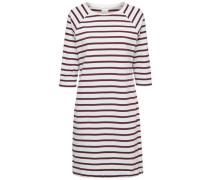 Gestreiftes Kleid mit kurzen Ärmeln bordeaux / weiß