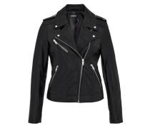 Leder-Bikerjacke mit Zippern schwarz / silber