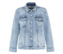 Jeansjacke mit Perlenverzierungen