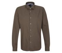 Modern Fit: Hemd mit Mustertstruktur braun
