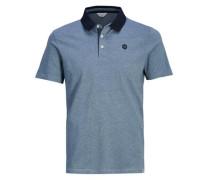 Melange-Poloshirt blaumeliert