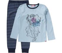 Schlafanzug 'Friends' für Mädchen hellblau / dunkelblau