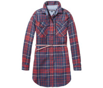 Kleid 'ame Check Shirt Dress L/s' nachtblau / mischfarben / rot