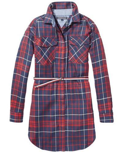 Kleid 'ame Check Shirt Dress L/s' nachtblau / mischfarben / rot