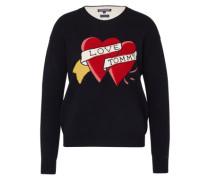 Statement Sweater aus Wollmix 'Bibi' blau