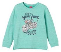 Sweater mit Motorrad-Print türkis