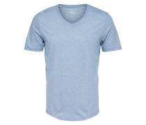 T-Shirt V-Ausschnitt hellblau / naturweiß