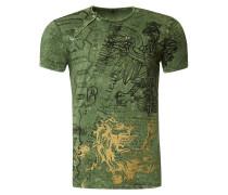 T-Shirt mit All Over Print Adler Druck