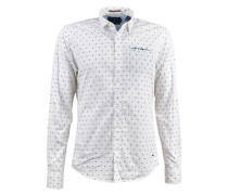 Hemd mit multicolour Brusttasche blau / weiß