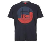 T-Shirt mit rundem Print nachtblau / pastellrot