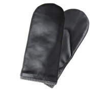 Fäustlinge Leder schwarz