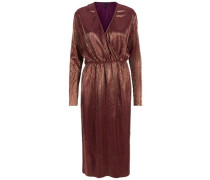 Beschichtetes Wickel-Kleid rostbraun