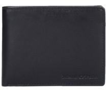 Classic Geldbörse Leder 10 cm schwarz