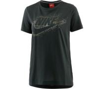 T-Shirt 'Essential' gold / dunkelgrün