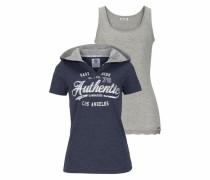 Print-Shirt (Set 2 tlg. mit Top) marine / navy / graumeliert