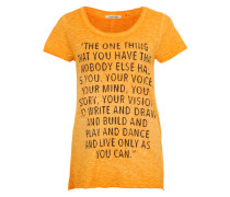 T-Shirt mit Glitzersteinchen orange