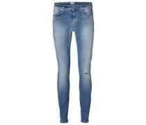 Gerippte Slim Fit Jeans blau