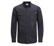 Klassisches Langarmhemd schwarzmeliert