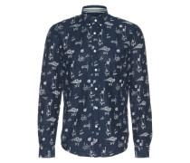 Hemd mit Allover-Print dunkelblau / naturweiß