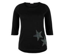 T-Shirt mit Schmucksteinen schwarz