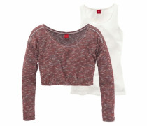 Pullover mit Longtop rot / weiß