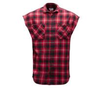 Ärmelloses Karo-Hemd rot / schwarz