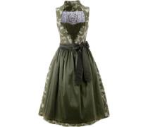 Dirndl midi mit integriertem Petticoat grün / oliv / weiß