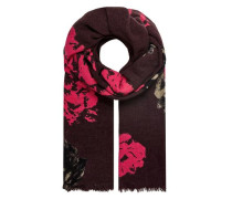 Winterschal mit Blütendruck burgunder