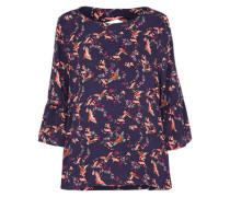 Bluse mit Vogel-Print dunkelblau / mischfarben