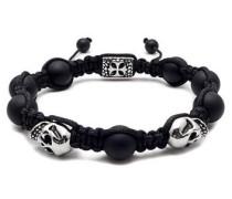 Armband mit Agate Steinen und Totenköpfen / Skulls
