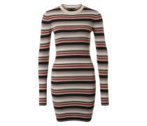 Figurbetontes Streifen-Kleid grau / rot / schwarz / weiß