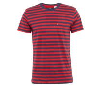 Shirt mit Streifen-Design dunkelblau / rot