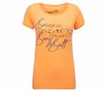 T-Shirt mit Used-Kanten und Artwork orange