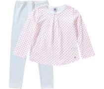 Schlafanzug für Mädchen hellblau / rosa / weiß
