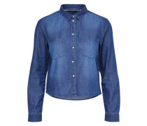 Kurz geschnittenes Jeanshemd blau