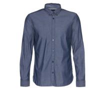 Hemd mit leichter Streifenstruktur blau