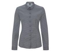Gemusterte Stretch-Bluse schwarz