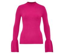 Rippstrick-Pullover mit Volant-Ärmeln pink