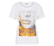 T-Shirt 'command' gold / weiß