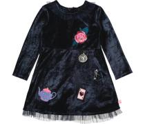 Kinder Samtkleid mit Tüllrock und Patches schwarz