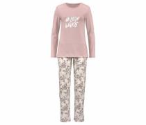 Pyjama 'Fading Sun' mit geblümter Hose puder / weiß